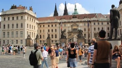 Prague. Square in front of Prague Castle the old Royal Castle Stock Footage