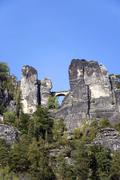 Stock Photo of bastion bridge, rathen, saxon switzerland, saxony, germany, europe