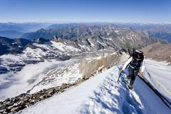 Stock Photo of mountaineer during the ascent to mt hochfeiler, pfitschertal valley, eisack v