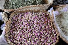dried rose petals, spice souk, dubai, united arab emirates, arabia, middle ea - stock photo