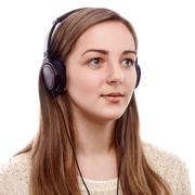 beautiful listener - stock photo