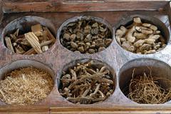 ayurvedic herbs and woods, kollengode, vengunad, kerala, india, asia - stock photo