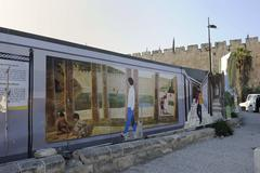 Stock Photo of panel with representations of historic life at the excavation site of the cit