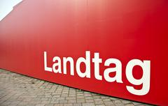 landtag, state parliament, sign on a red observation deck in the centre of po - stock photo