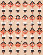 Female Character Emotions - stock illustration