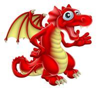 cartoon red dragon - stock illustration