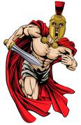 spartan or trojan man - stock illustration