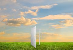 open door to new life on the field. hope, success, new life and world concept - stock illustration