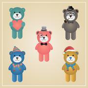 Winter hipster teddy bear illustration Stock Illustration