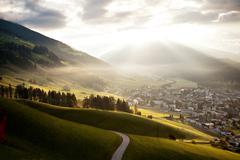 innichen, tre cime di lavaredo or drei zinnen region in autumn, dolomite alps - stock photo