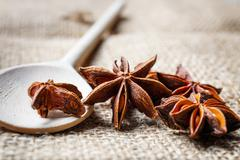 Star anise, wooden spoon Stock Photos