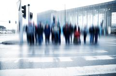 pedestrian crossing rush. people moving motion - stock photo