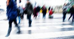Pedestrian crossing rush. people moving motion Stock Photos