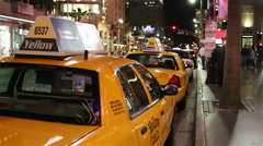 Taxis in Hollywood at Night. Stock Footage