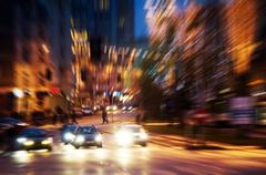 Big city life at night. dynamic motion blur Stock Photos