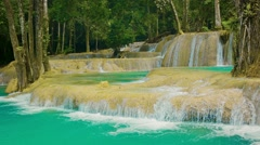 Fallsview on kouang si waterfall, laos, luang prabang Stock Footage