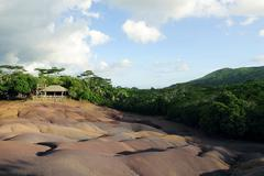 seven coloured earth, a geological formation, chamarel plain, south-western m - stock photo