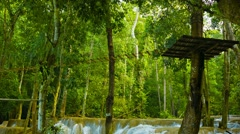 Vertical panorama of kouang si waterfall, laos, luang prabang Stock Footage