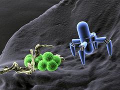 Nano robots and bacteria, concept nanotechnology in medicine, 3d illustration Stock Illustration
