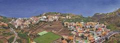 the small pristine coastal village of agulo, la gomera, canary islands, spain - stock photo