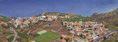 Stock Photo of the small pristine coastal village of agulo, la gomera, canary islands, spain