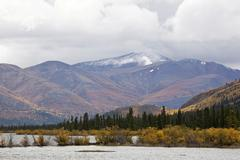 Fish lake and surrounding sub-alpine tundra, indian summer, leaves in fall co Stock Photos