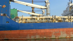 an old hige icebreaker ship on dock on the port gh4 4k - stock footage