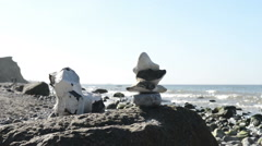 Flint stone sculptures on beach Darss peninsulas Stock Footage