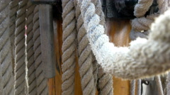 Huge set of ropes used on the big ship on the harbour gh4 4k Stock Footage