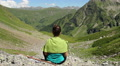 Woman meditating in mountains, beautiful landscape, relaxation Footage