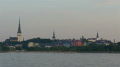 The old tallin view of estonia from the sea scape view gh4 4k Stock Footage