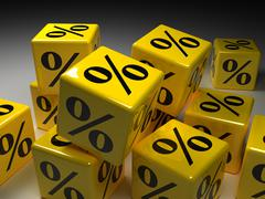 cubes with per cent signs, computer graphics - stock photo