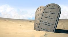 Ten commandments standing in the desert Stock Illustration