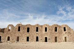 multi-level barn constructed with barrel vaults, ghorfa, ksar fercha, souther - stock photo