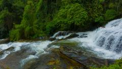 panorama of waterfalls in the rainforest. thailand - stock footage