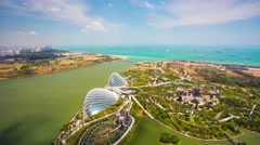 4k Timelapse aerial view of Gardens by the Bay in Singapore. Stock Footage