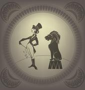 young woman perform tamer stunt. flappers - stock illustration