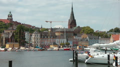 Skyline of Flensburg, Schleswig-Holstein, Germany Stock Footage