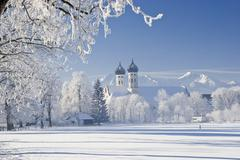Benediktbeuern monastery, winter scenery with white frost, upper bavaria, bav Stock Photos