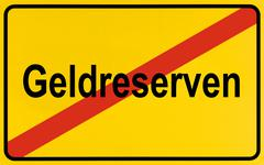 Stock Photo of end of town sign with the name geldreserven, symbolic image for declining fin