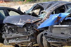 Multiple vehicle collision Stock Photos