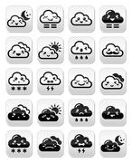 Cute Kawaii clouds with different expressions - happy, sad, angry Stock Illustration