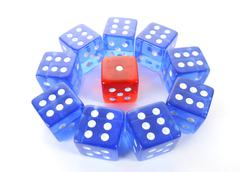 Dice, symbolic picture for mobbing, isolation, loner, intimidation, aggressio Stock Photos