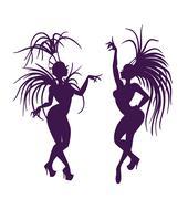 silhouettes of attractive samba queen - stock illustration