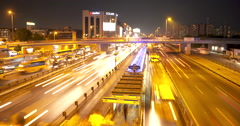 Metrobus Station and Traffic In Istanbul Time-Lapse-night Stock Footage