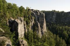the bastei sandstone formation, elbe sandstone mountains, saechsische schweiz - stock photo