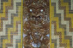 Maori carving, tongariro national park, north island, new zealand Stock Photos