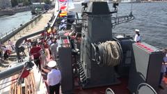Russian combat naval ship deck, 4K Stock Footage