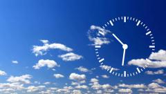 Clock Time Lapse with cloud and sky - stock footage