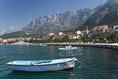 skyline of makarska, dalmatia, croatia, europe - stock photo